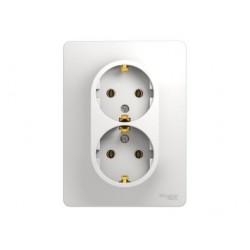 Schneider Electric Glossa Белый Розетка 2-местная с заземляющими контактами в сборе с рамкой IP20 скрытая установка GSL000124