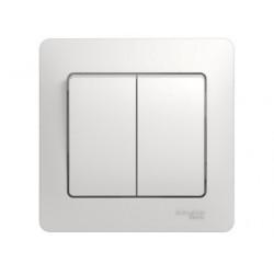 Schneider Electric Glossa Белый Выключатель 2-клавишный схема 5, в сборе с рамкой IP20 скрытая установка GSL000152